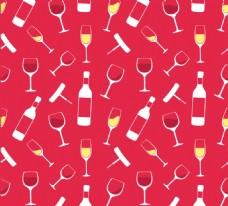 香槟酒和酒杯无缝背景矢量素材