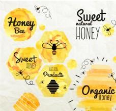 水彩蜂蜜标签矢量图