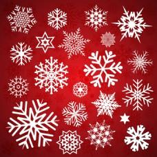 不同的雪花红色背景