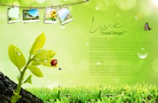 春天綠色背景宣傳