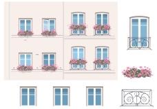 建筑与阳台矢量元素