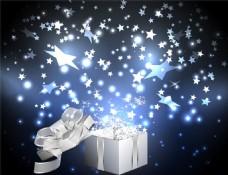 白色礼物与梦幻背景图片
