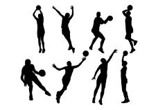 免费的篮球运动员剪影矢量