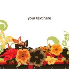 秋天的盛开花朵季节背景插图海报