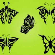 蝶泳纹身部落翼图标背景矢量