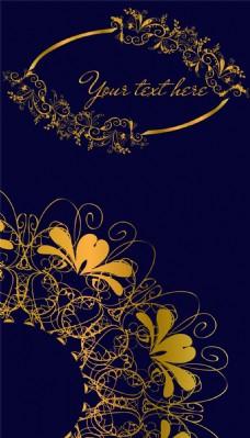 蓝色背景里的金色花纹图案图片