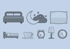 躺在床上的时间图标