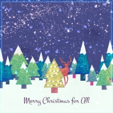 圣诞背景与水彩美丽的雪松树森林