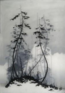 水墨 杉树