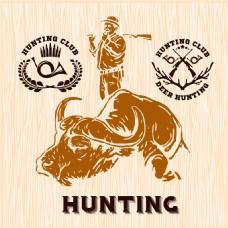 水牛与猎人插画