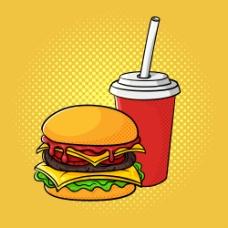 一杯可乐与汉堡图片