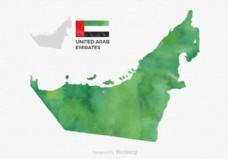 免费矢量水彩阿拉伯联合酋长国地图