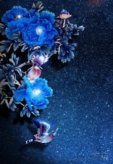 蓝色牡丹背景