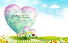 春天彩绘海报背景模板