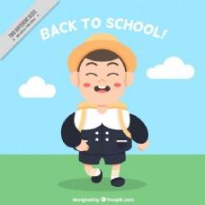 一个步行回学校的孩子