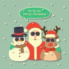 圣诞老人驯鹿雪人戴墨镜