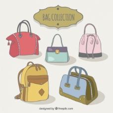 各式各样的美丽的袋子