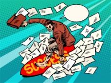 冲浪的商务男士漫画