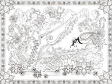 矢量黑白手绘插画图片