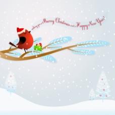 圣诞鸟树木背景设计