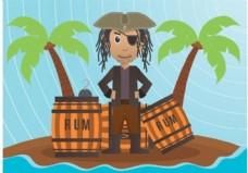 海盗插画矢量图