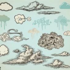 云矢量集合图标背景元素