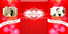 红色清新背景墙