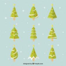 圣诞树和星星的几何包