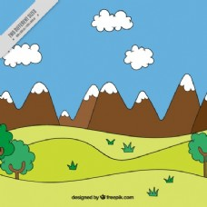 草甸和手绘的背景景观