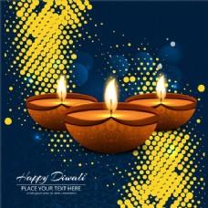 蓝色和黄色的背景上蜡烛庆祝排灯节