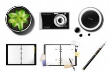 盆栽植物相机咖啡书本钢笔元素图