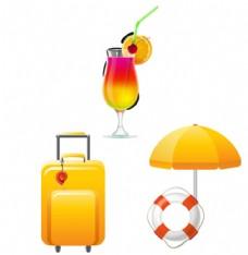行李箱 饮品 遮阳伞 救生圈