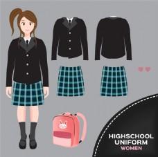 书包和格子女装校服图片