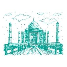 泰姬陵,印度,插图,矢量图...