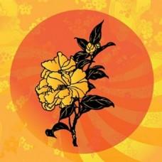 亚洲花图标设计元素图案