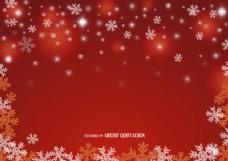 红色圣诞雪花背景
