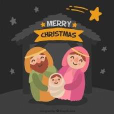 可爱的圣诞马槽场景
