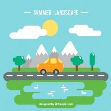 平面设计背景下的夏季旅游景观