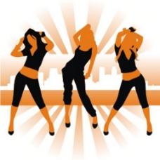 跳舞女孩的轮廓图标背景