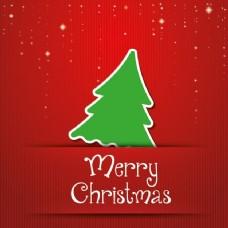 红色背景与绿色圣诞树
