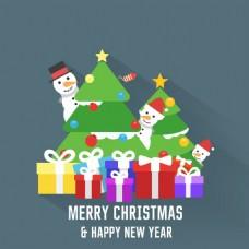 圣诞树和礼物堆雪人背景