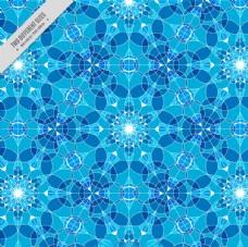 蓝色背景几何水晶