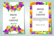 绚丽花朵婚礼卡片图片