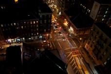 汽车,夜晚,新,约克,长时间曝光,出租车,夜晚,生活