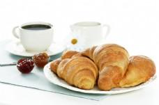 羊角面包与咖啡图片