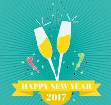 带香槟的新年背景