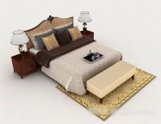 木质花纹双人床3d模型下载