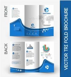 企业蓝色三折页模板图片