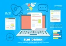 免费平板数码营销矢量背景带触摸屏笔记本