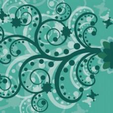 绿色花图案漩涡格式背景抽象花朵背景